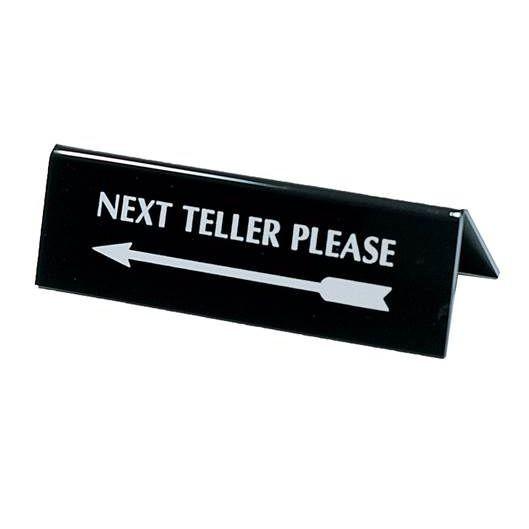 Next Teller Please w/ Arrow Silver on Black