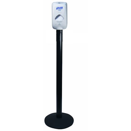 Sanitizing Station on top of a Black Aluminum Sign Post