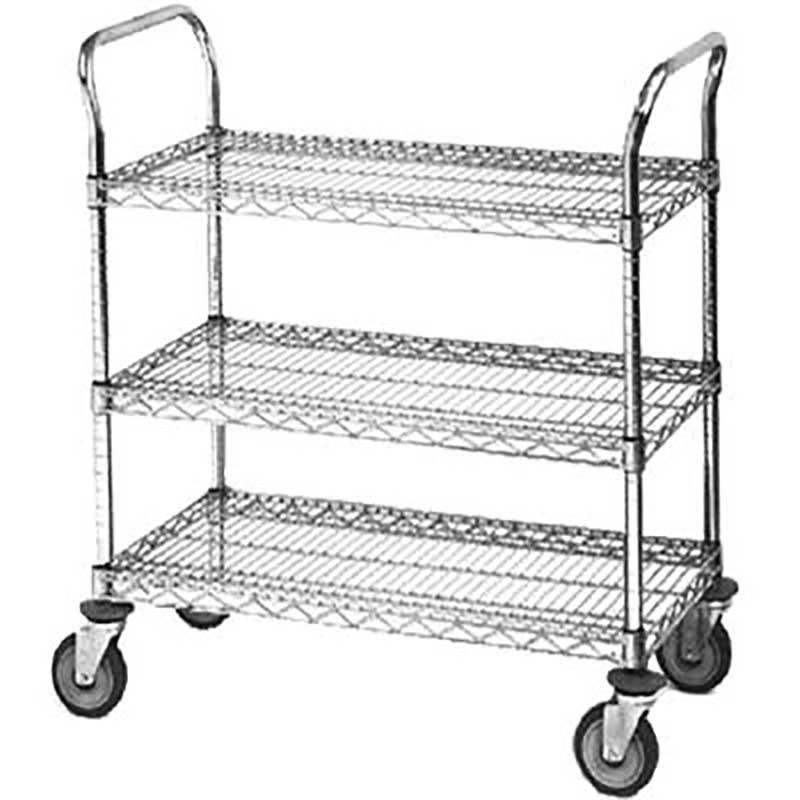 Chrome Utility Cart - 18W x 42L x 39H