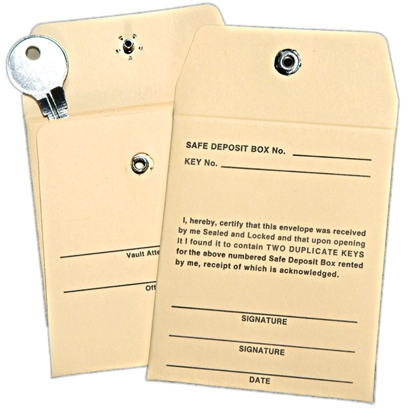 Safe Deposit Key Envelopes - Made to Order