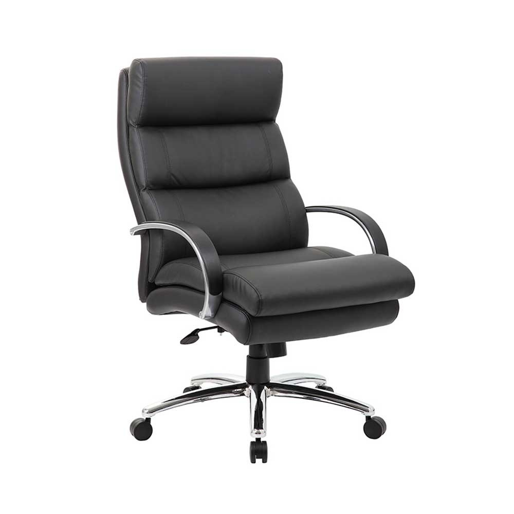 Heavy Duty Plush Padded Executive Chair, Black Leather