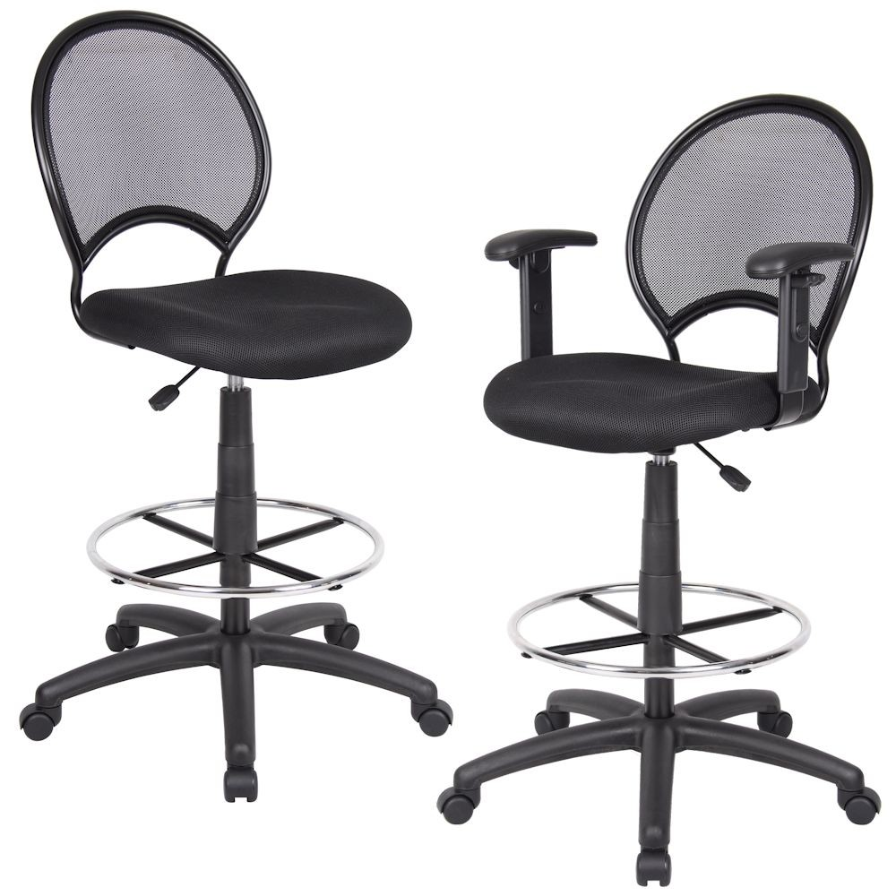 Black Mesh-Back Cashier Stool