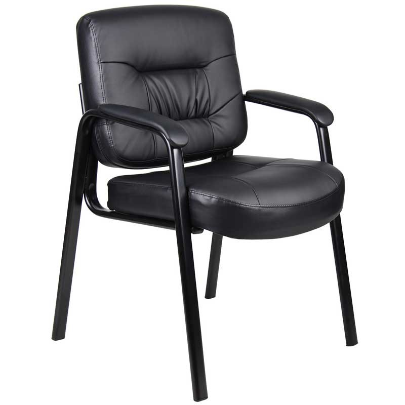 Executive Leather Guest Chair with Padded Armrests