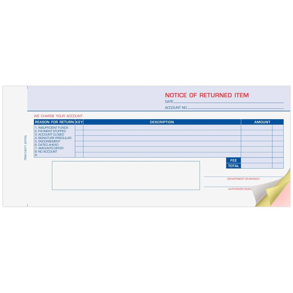 Notice of Returned Item 3 Part Form #999-4071