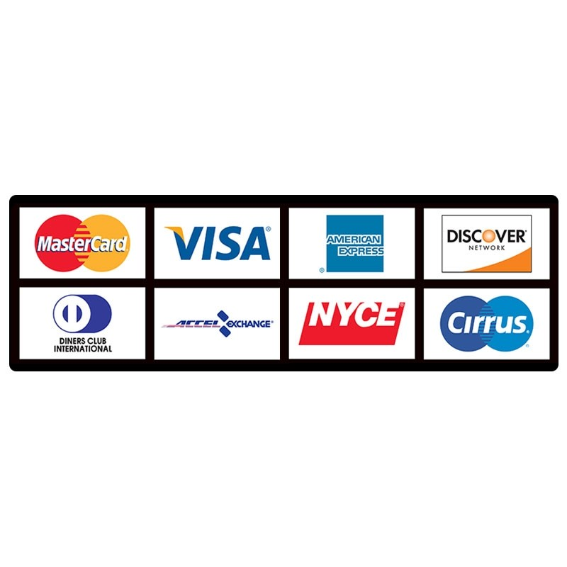 ATM Card Acceptance Sign, 8 Logo-Horizontal, 15-1/4W x 4-3/4H