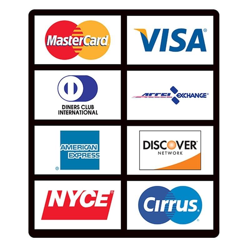 ATM Card Acceptance Sign, 8 Logo-Vertical, 7-3/4W x 9-1/4H
