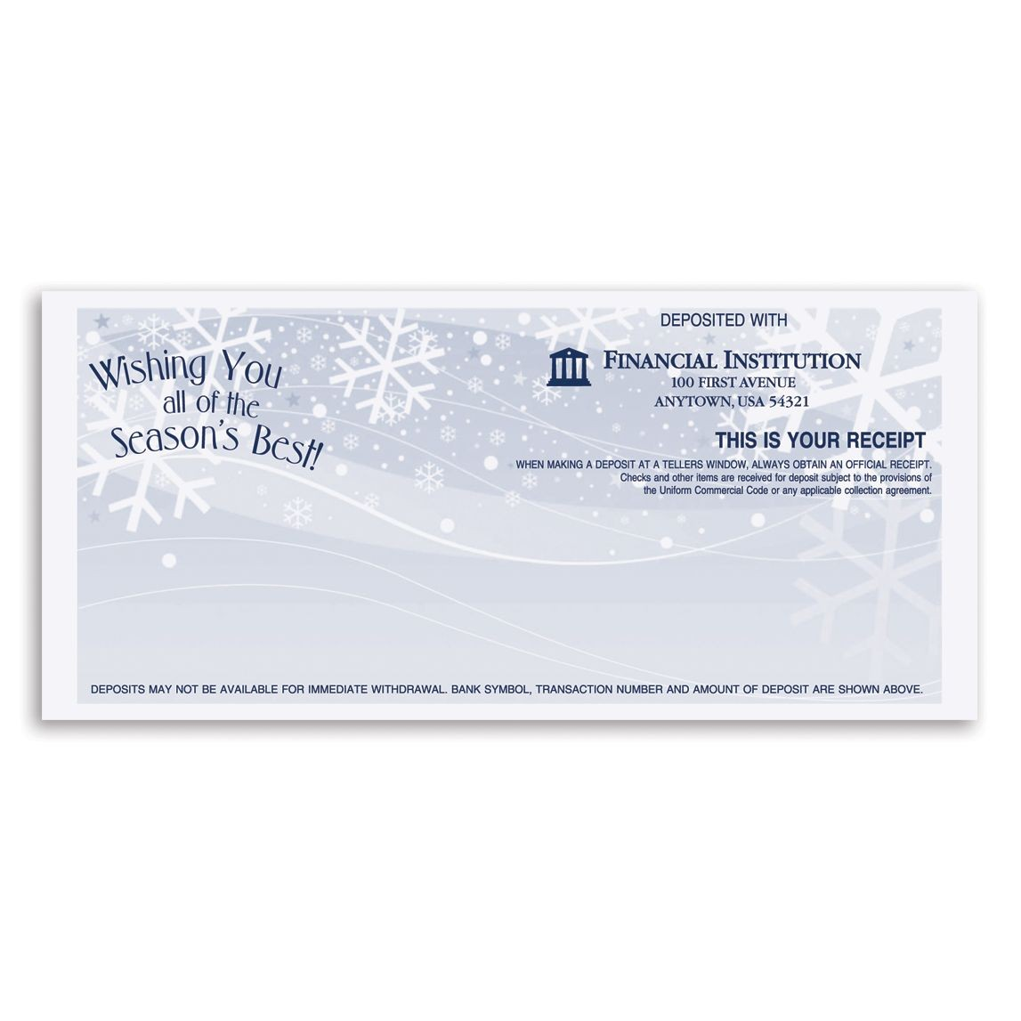 Wishing You all of the Season's Best! Teller Receipt