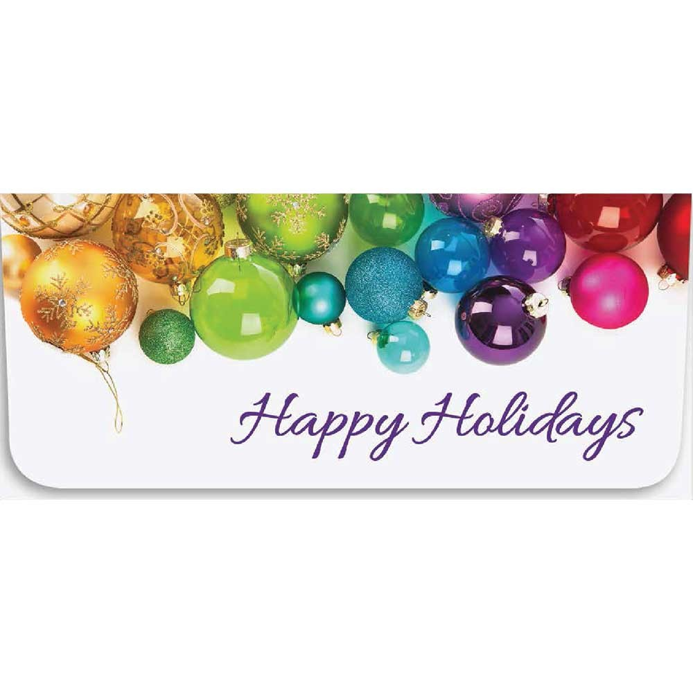 Holiday Currency Envelopes - Happy Holidays - Multi Color Ornaments