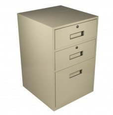Fenco Silverline Lowboy Pedestal, (2) Drawers, (1) Legal Drawer