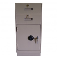 Fenco Silverline Teller Pedestal, (2) Drawers, (1) Cabinet with Combination Lock