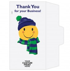 Ready-to-Ship Drive Up Envelopes - Thank You For Your Business - Winter Smiley - w / 1 Color Custom Print