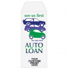 Ready-to-Ship Drive Up Envelopes - Auto Loan - See Us First - w / 1 Color Custom Print