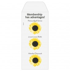 Ready-to-Ship Drive Up Envelopes - Membership Has Advantages - Sunflowers