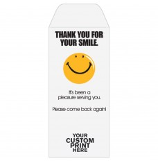Ready-to-Ship Drive Up Envelopes - Thank You For Your Smile - Smiley Face - w / 1 Color Custom Print