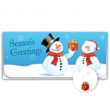 Exclusive Holiday Currency Envelopes - Seasons Greetings - Two Snowmen