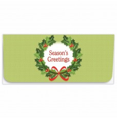 Exclusive Holiday Currency Envelopes - Seasons Greetings - Green With Wreath