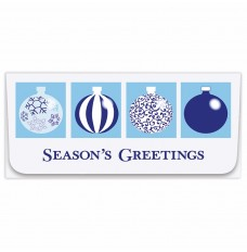 Exclusive Holiday Currency Envelopes - Seasons Greetings - Blue Ornaments