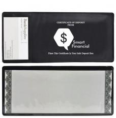 Cert Holder w/clear back pocket, 1 bus card pkt-1C Imprint