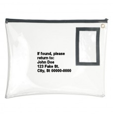 14W x 11H Clear Vinyl Large Zipper Bag - Custom Imprinted