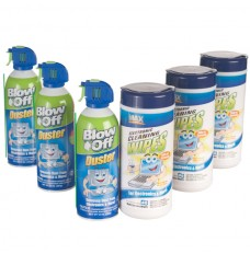 KIT of 3 Cans Each of Blow-off & Electronic Wipes