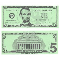 Play Money - Realistic Five Dollar Bills - 100/pk
