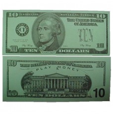 Play Money - Realistic Ten Dollar Bills - 100/pk
