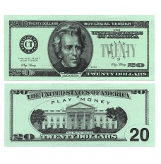 Play Money - Realistic Twenty Dollar Bills - 100/pk