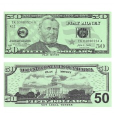 Play Money - Realistic Fifty Dollar Bills - 50/pk