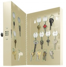 SteelMaster® Key Cabinet - 28 Key Hooks - Putty - Combination Lock