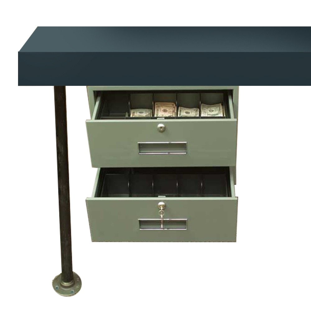 Fenco 2-Drawer Under-Counter-Mount Cash Drawer w/Brackets