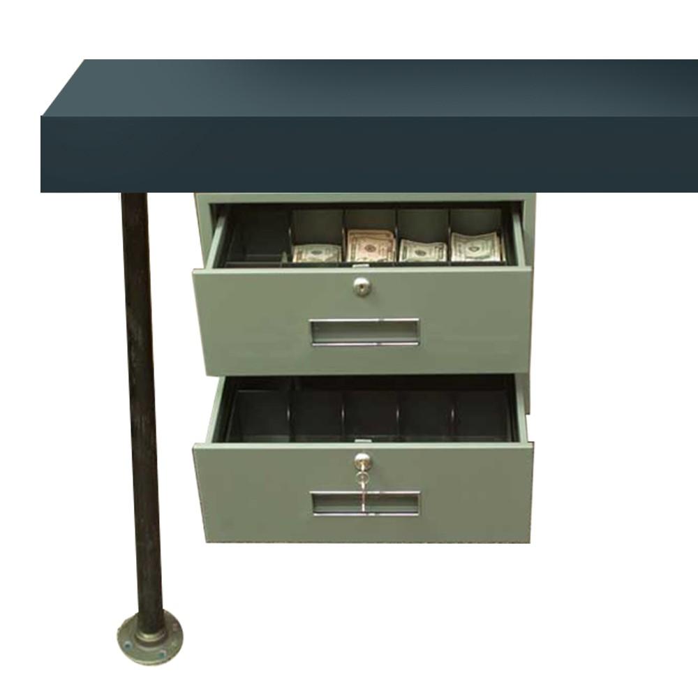 Fenco 2-Drawer Under-Counter-Mount Cash Drawer w/Brackets