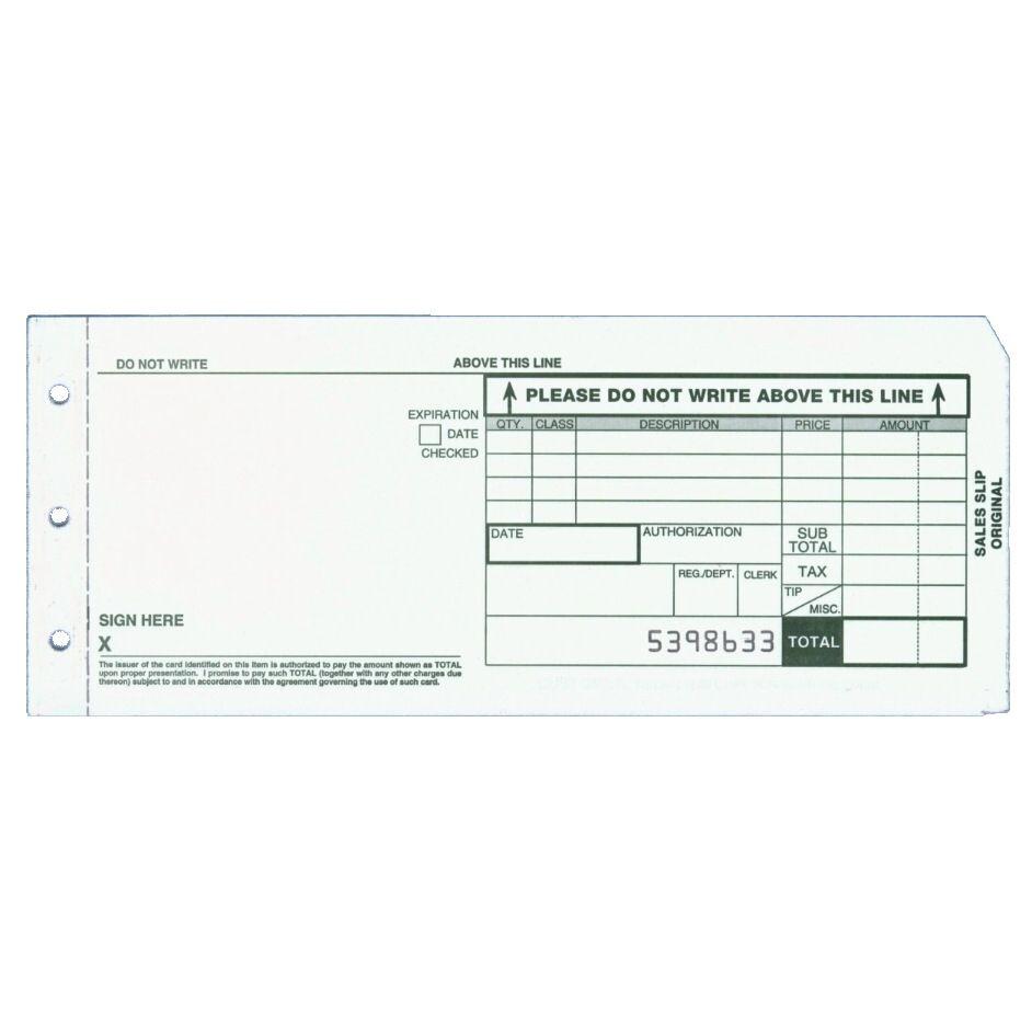 3-part Charge Slips for Model 4850 Credit Card Imprinter