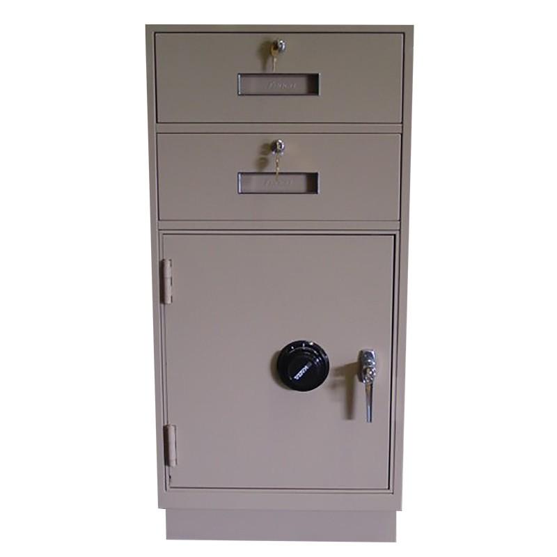 Fenco Silverline Teller Pedestal, (2) Drawers, (1) Cabinet with Combination Lock