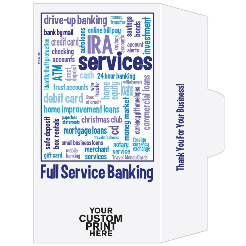 Ready-to-Ship Drive Up Envelopes - Full Service Banking - w / 1 Color Custom Print