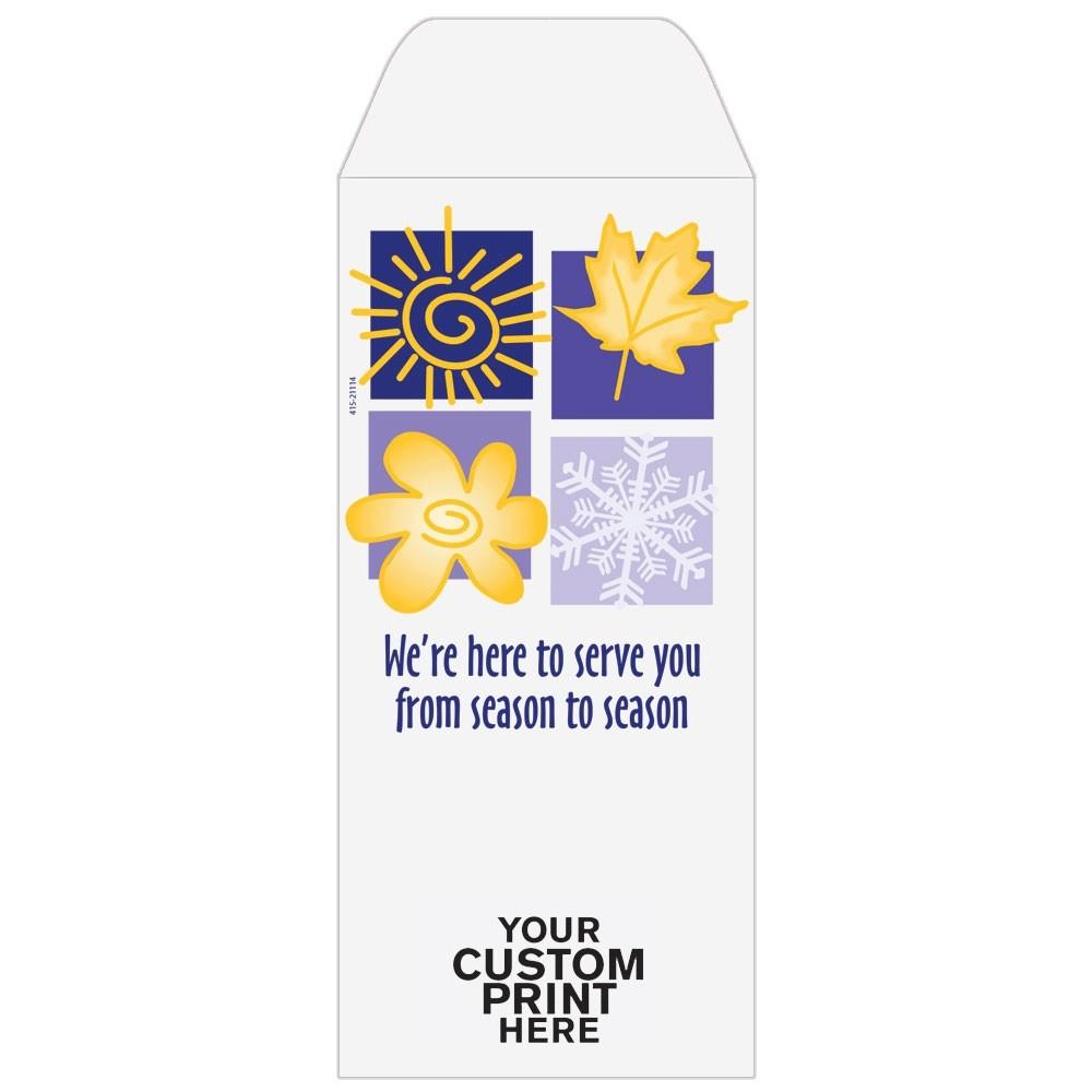 Ready-to-Ship Drive Up Envelopes - Season To Season - Four Seasons - w / 1 Color Custom Print