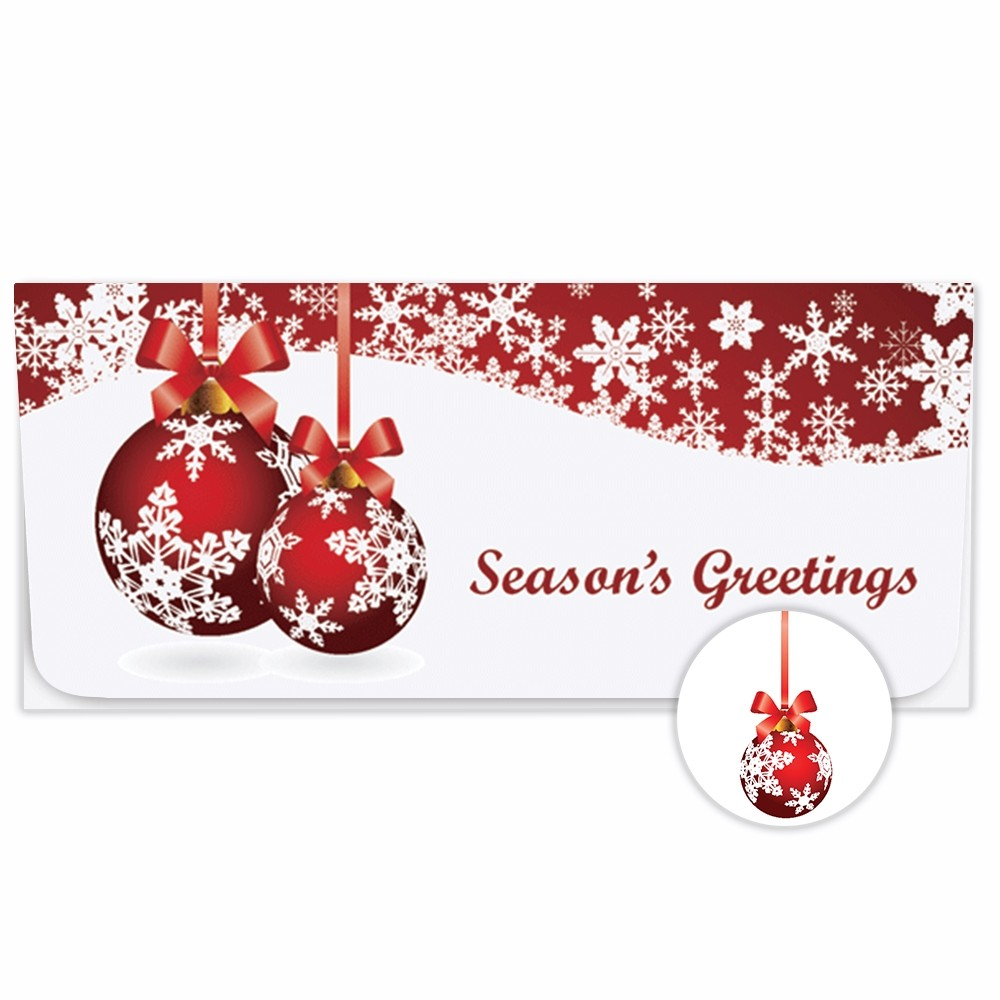 Exclusive Holiday Currency Envelopes - Seasons Greetings - Red & White Bulbs