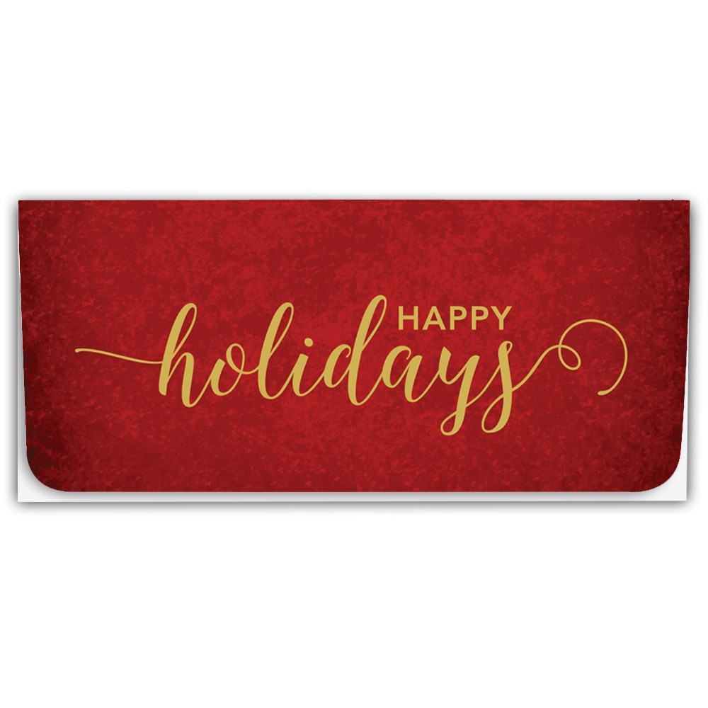 Holiday Currency Envelopes - Happy Holidays - Gold Script on Red
