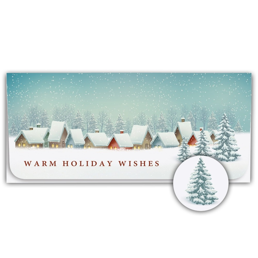 Holiday Currency Envelopes - Warm Holiday Wishes - Snowy Village