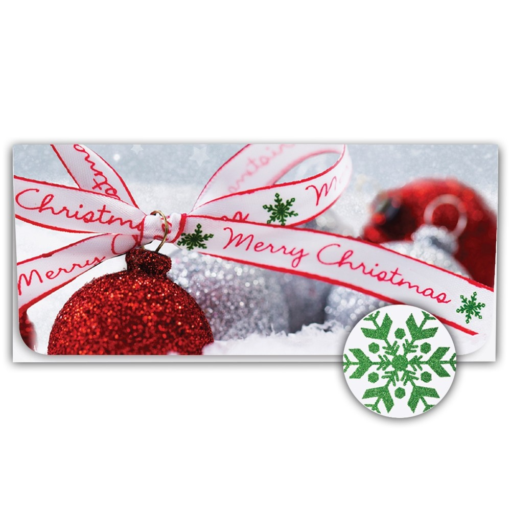 Holiday Currency Envelopes - Merry Christmas - Glitter Bulbs & Ribbon