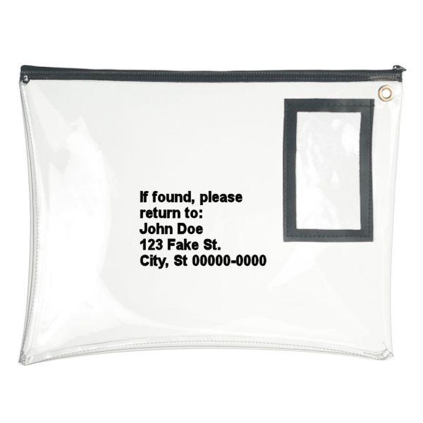 14W x 11H Clear Vinyl Large Zipper Bag - Custom Imprinted