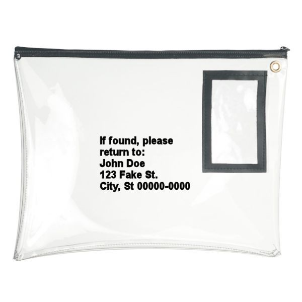 12W x 9H Clear Vinyl Large Zipper Bag - Custom Imprinted