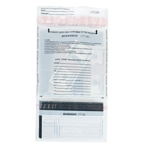 White Top Bottom Deposit Bags - 9 in W x 17-1/2 in H - Case of 100