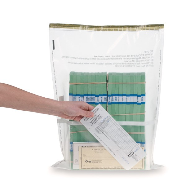 15W x 20H Clear Deposit Bags with External Pocket, 100/bx