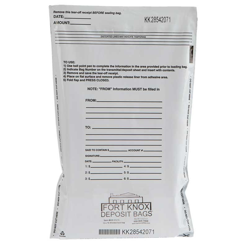 12W x 16H White Value Deposit Bags - Case of 1000
