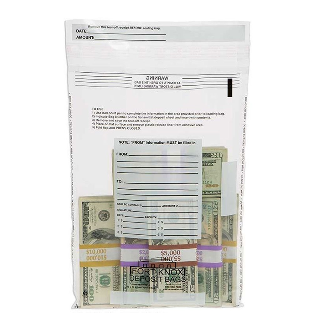 10W x 14H Clear Value Deposit Bags - Case of 1000