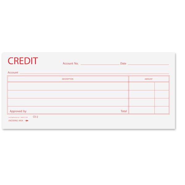 Credit Slip - CE24 - 6-4/5W x 3-1/8H, red ink on 24# paper