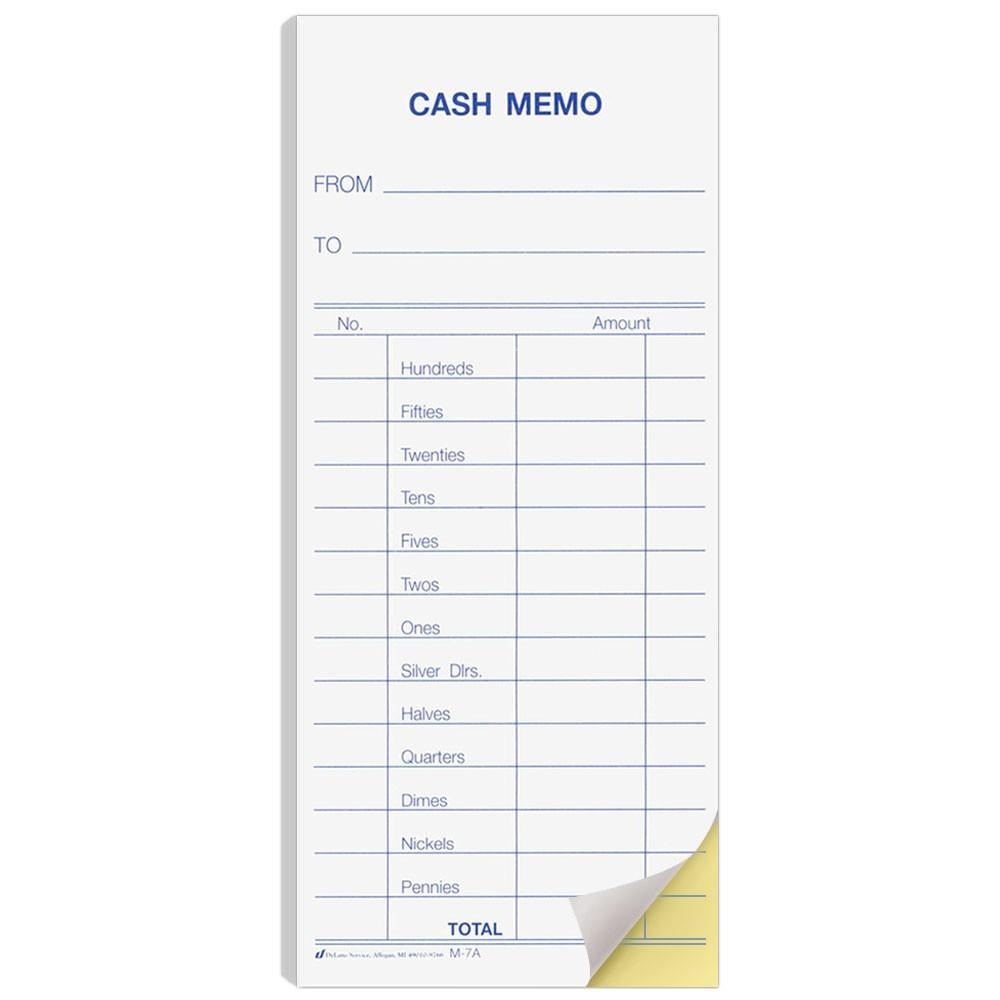 2 Part  Snap Cash Memo Pack of 500 2-3/4x6-1/4 plus stub
